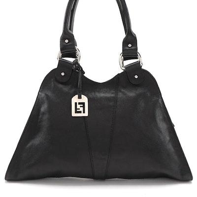 Fendi Devil Trapezio Shoulder Bag in Black Grained Leather