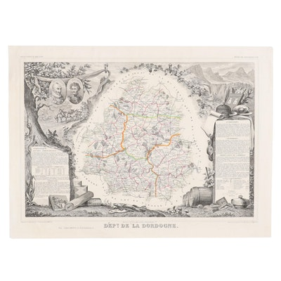"Hand-Colored Engraving Map after Victor Levasseur ""Dept. de la Dordogne"""