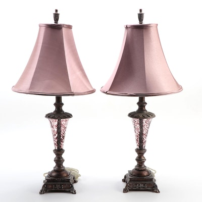 Pair of Glass and Composite Table Lamps