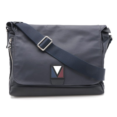 Louis Vuitton V-Line Cross Messenger Bag in Navy Blue Leather