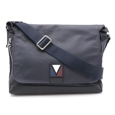 Louis Vuitton V-Line Cross Messenger Bag in Navy Blue Leather