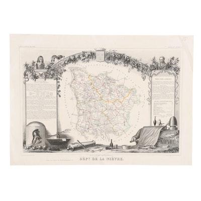 """Engraving Map after Victor Levasseur """"Dept. de la Nievre,"""" Late 19th Century"""