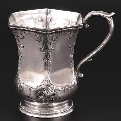 Repoussé Floral Motif Sterling Silver Cup