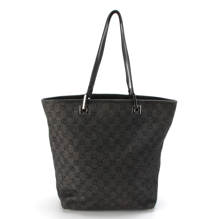 Gucci GG Gray/Black Canvas and Leather Tote Bag
