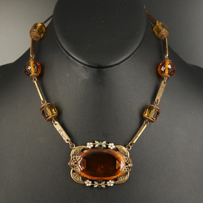 1930s Czech Amber Glass Station Necklace with Enamel Flower Accents