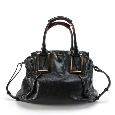 Chloé Ethel Two-Way Satchel in Black Leather