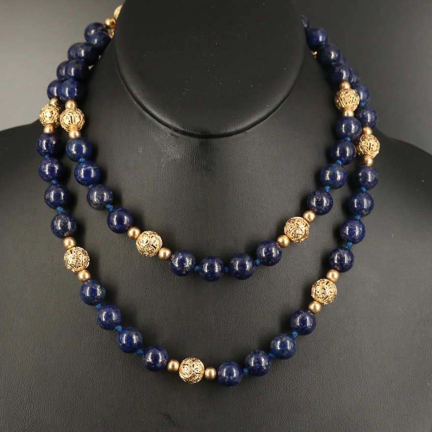 Lapis Lazuli Beaded Necklace with 14K Vintage Clasp and Filigree Beads
