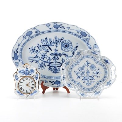 "Meissen ""Blue Onion"" Porcelain Platters with Other Blue Onion Style Clock"