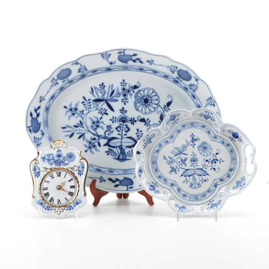 """Meissen """"Blue Onion"""" Porcelain Platters with Other Blue Onion Style Clock"""