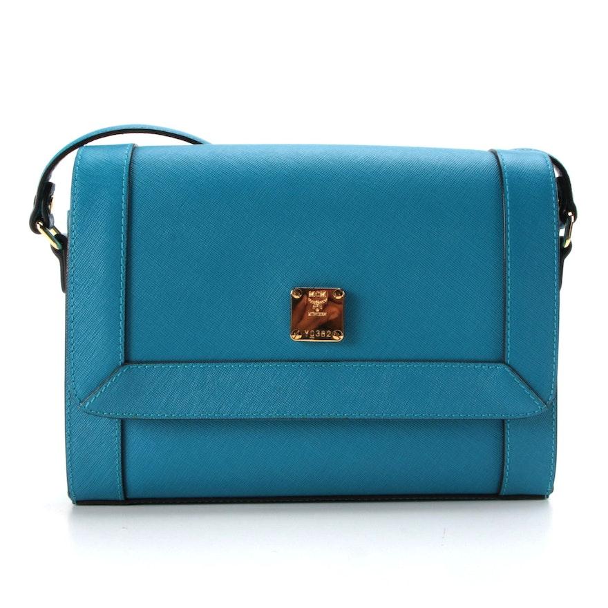 MCM Crossbody Bag in Blue Saffiano Leather