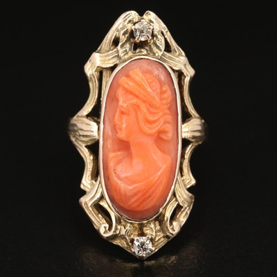 Vintage 10K Coral Cameo Ring