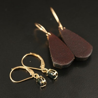14K Earrings Including Sapphire and Leather