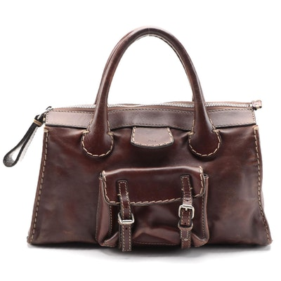 Chloé Edith Brown Leather Handbag with Contrast Stitching