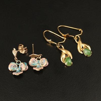 14K Earrings Including Nephrite and Enamel