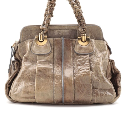 Chloé Heloise Large Satchel in Khaki Green Calfskin Leather