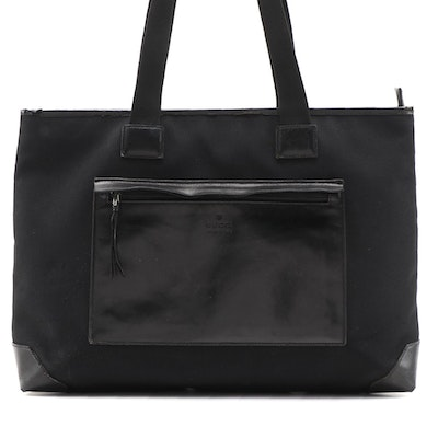 Gucci Black Canvas Tote with Leather Trim