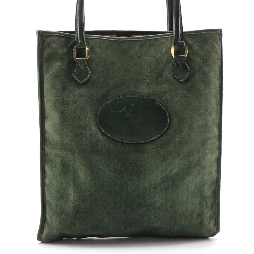 Gucci Shopper Tote in Green Suede and Smooth Leather