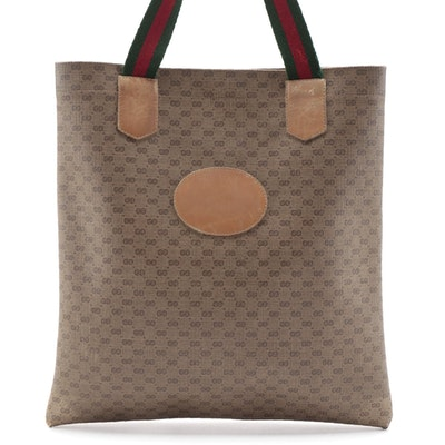 Gucci Accessory Collection Web Strap Tote in Micro GG Coated Canvas and Leather