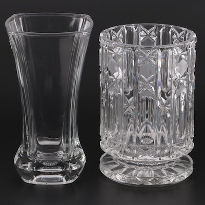 French Flared Rim Crystal Vase with Crystal Wine Chiller