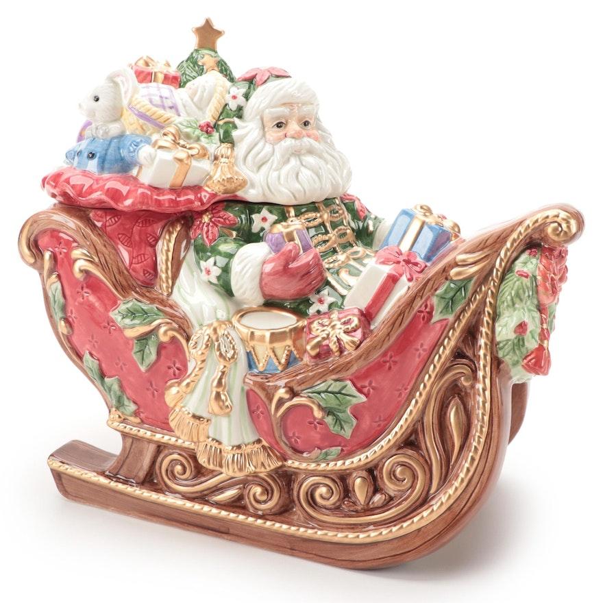 "Fitz and Floyd ""Santa's Sleigh"" Ceramic Cookie Jar"