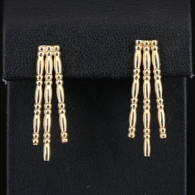 14K Triple Row Segmented Earrings
