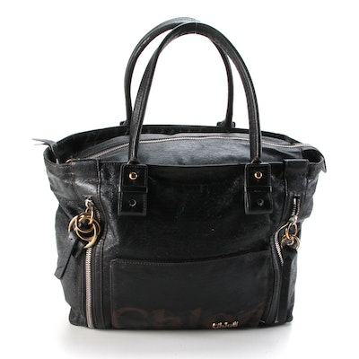 Chloé Black Coated Canvas Embossed Logo Tote