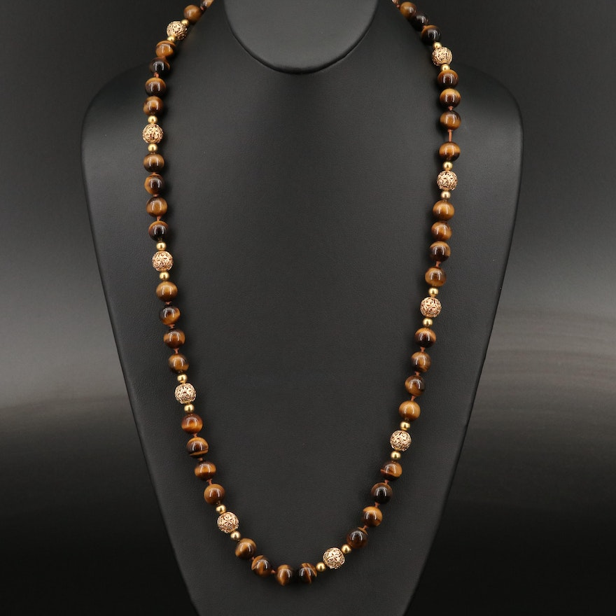 14K Tiger's Eye Bead Necklace with Vintage Clasp