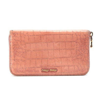Miu Miu Croc-Embossed Leather Zip Wallet in Coral