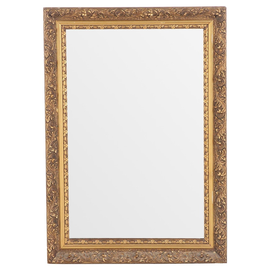 Rectangular Giltwood and Composition Wall Mirror, Late 20th Century