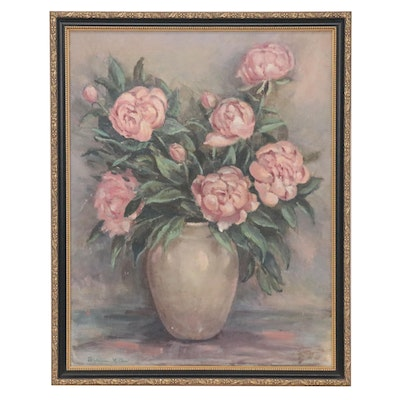 Berniece Huffard Still Life Oil Painting of Flowers, Early 20th Century