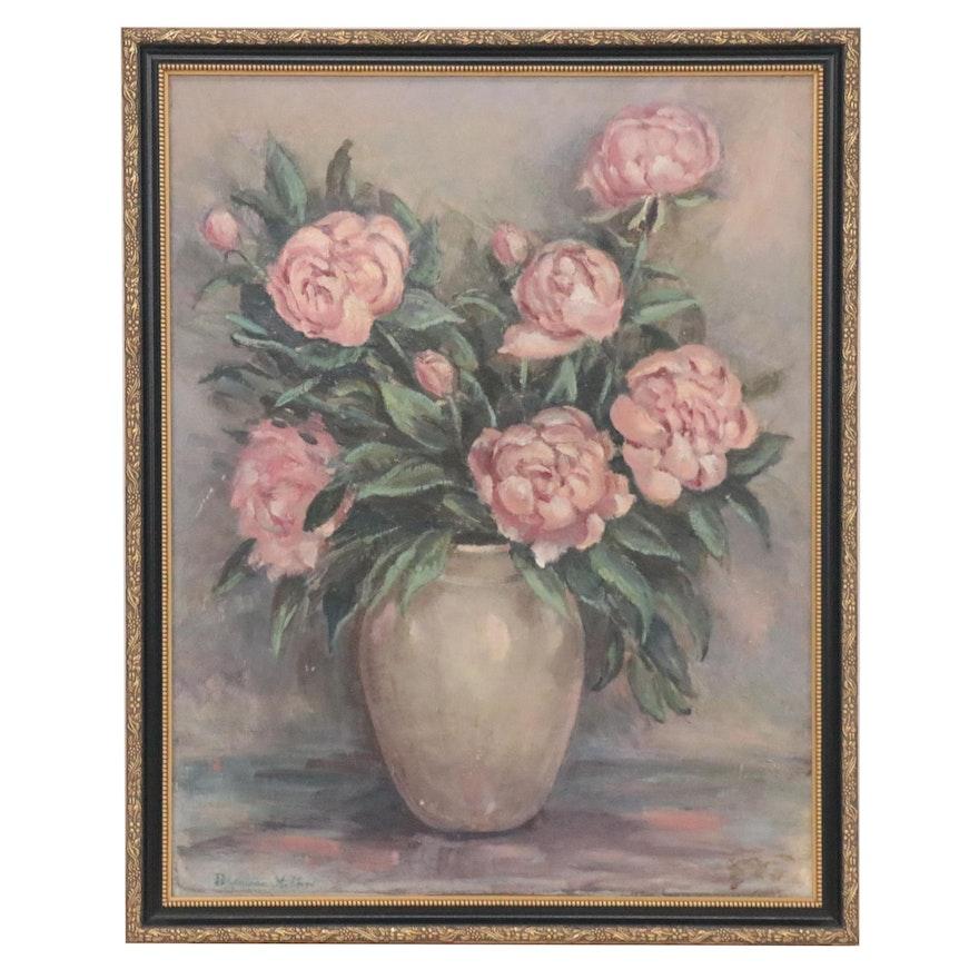 Berniece Huffard Still Life Oil Painting of Flowers, Early 20th Century