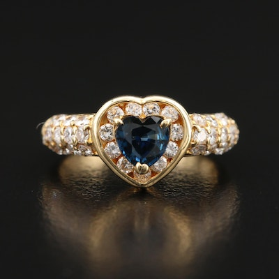 18K Sapphire and Diamond Pavé Heart Ring