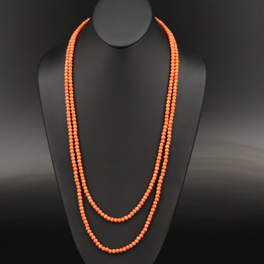 Continuous Coral Bead Necklace