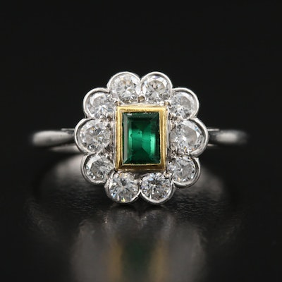 Platinum and 14K Emerald and Diamond Ring