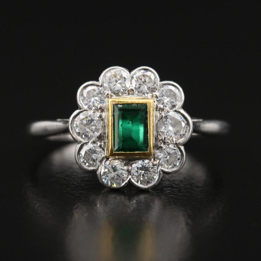 Platinum and 14K Emerald and Diamond Ring