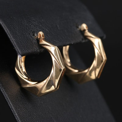 14K Ribbon Twist Hoop Earrings