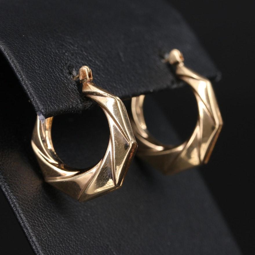 14K Ribbon Twist Hoop Earrings
