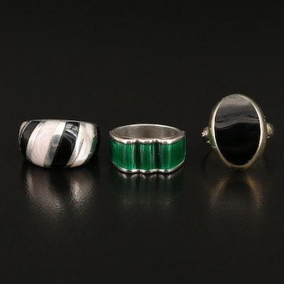 Sterling Ring Selection Featuring Vintage Norwegian Jacob Tostrup Enamel Ring