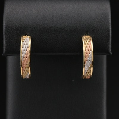 14K Tri-Color Gold J-Hoop Earrings with Panther Link Pattern