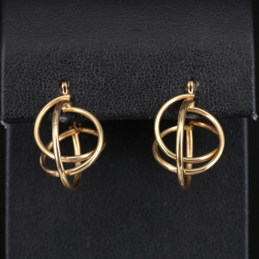 14K Overlapping Hoop Earrings