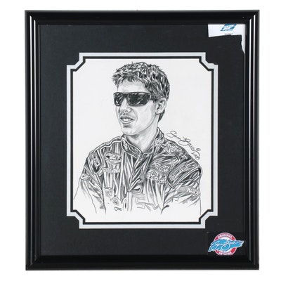 Sam Bass Graphite Portrait Drawing of Nascar Driver, 2008