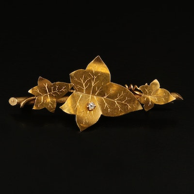 Arts and Crafts 14K Diamond Appliqué Maple Leaf Brooch
