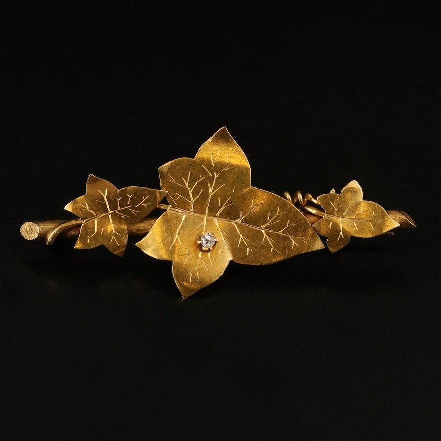 Arts and Crafts 14K Diamond Appliqué Maple Leaf Brooch