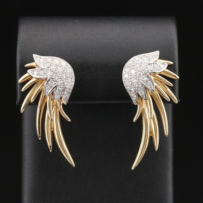 14K 1.52 CTW Diamond Wing Earrings
