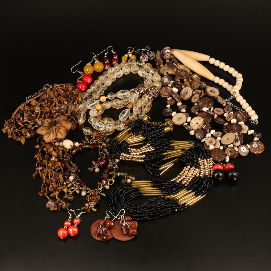 Multi-Strand Necklaces and Beaded Jewelry with Tiger's Eye and Mother of Pearl