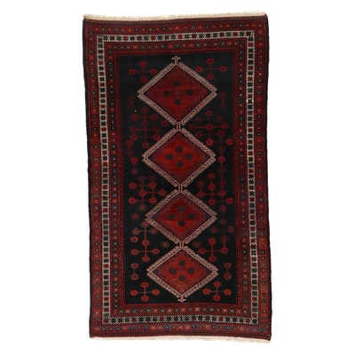 5'1 x 8'11 Hand-Knotted Turkish Village Rug, 1970s