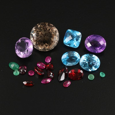 Loose 41.83 CTW Smoky Quartz, Amethyst, Ruby and Additional Gemstones