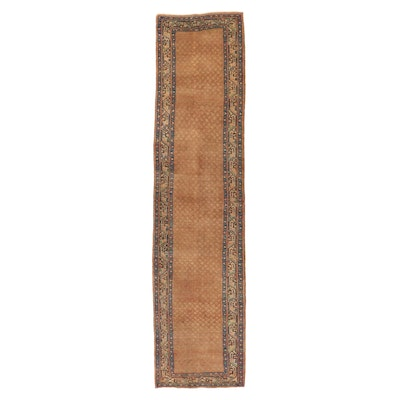 3'4 x 13'8 Hand-Knotted Persian Mir Seraband Long Rug, 1960s