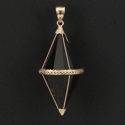 Vintage 14K Smoky Quartz Pendulum Pendant