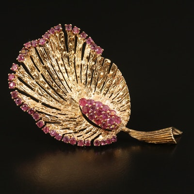 1950s 14K Ruby Leaf Brooch